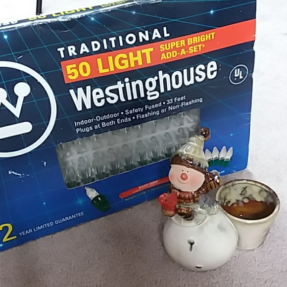 20 CT LED Snowman Light LIGHTS Set Christmas PARTY Indoor OUTDOOR Green WIRE EUC